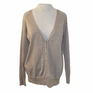 Talbots Cardigan, gold shimmer, button up